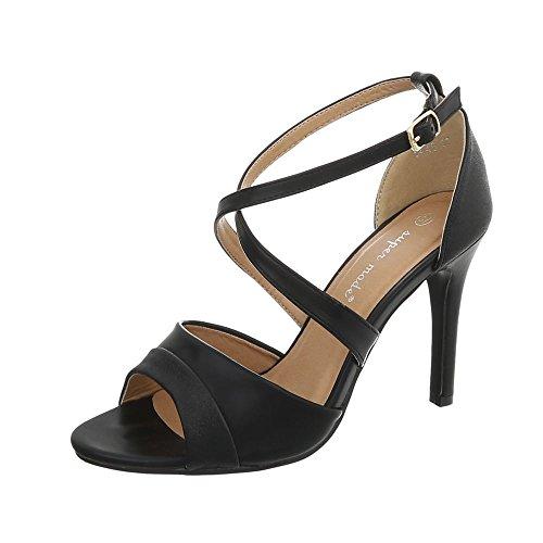 Ital-Design High Heel Sandaletten Damen-Schuhe Pfennig-/Stilettoabsatz Heels Schnalle Sandalen & Schwarz, Gr 40, 8446- -