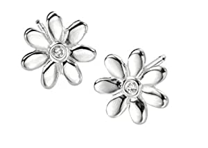 Silver Flower Stud Earrings for Girls by D for Diamond