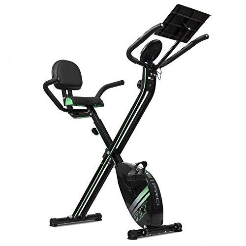 Bicicleta estática XBike Pro de Cecotec. Bicicleta plegable magnética. Pulsómetro. Pantalla LCD. Resistencia variable. Sillín confort con respaldo y agarres laterales. Soporte para Tablet. Ruedas.