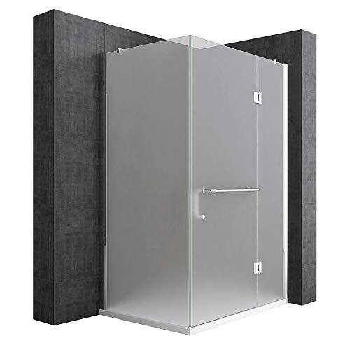 duschtrennwand eckeinstieg Duschtrennwand mit Duschtasse 90x100 cm, ESG-Sicherheitsglas mit Lotus-Effekt & schmutzabweisender Nano-Beschichtung, Echtglas-Dusche Ravenna04S
