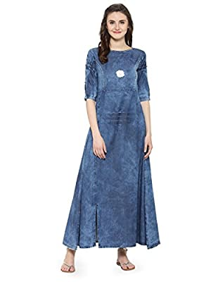 Kvsfab Women's Cotton Blue Denim Kurti [KVSKR8122DENIM]