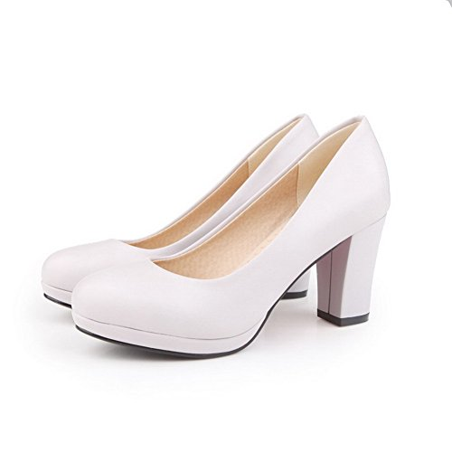 VogueZone009 Femme à Talon Haut Tire Couleur Unie Matière Souple Rond Chaussures Légeres Gris