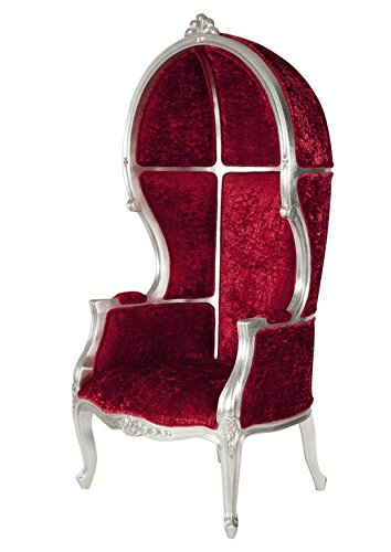 Sessel, Pomp, Mahagoni, Gestell Silber, Bezug Rot, Sitzhöhe 46 cm, Sitztiefe 55 cm, Sitzbreite 55 cm, Bezug 100% Polyester