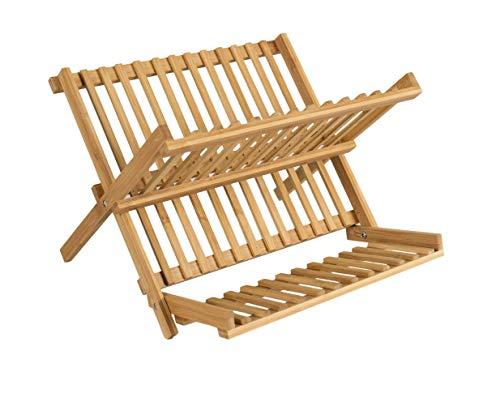 elbmöbel - Escurreplatos de Madera de bambú (Plegable, tamaño pequeño y Grande), Color Natural, tamaño
