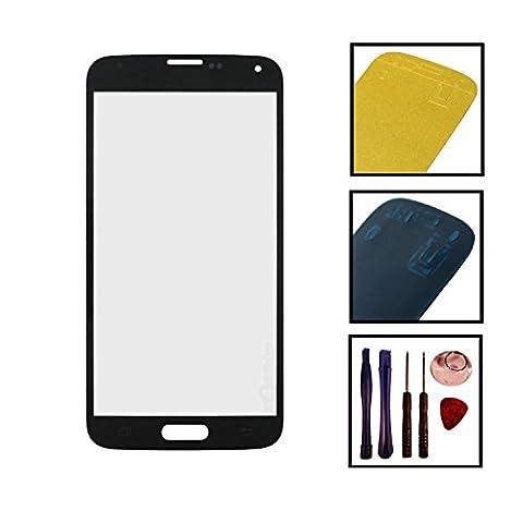 Inobit Datensysteme Touchscreen Front Glas Display mit Kleber und Werkzeug für Samsung Galaxy S5 SM-G900F I9600 (I9605), schwarz