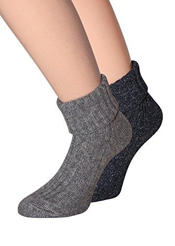 Chaussettes laine femme en laine avec couture douce comme de la soie pas pression Taille 35–38, 2paires