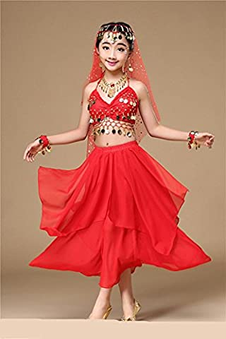 Wgwioo Fille Danse Du Ventre Vêtements Ensembles Costumes Enfants Inde