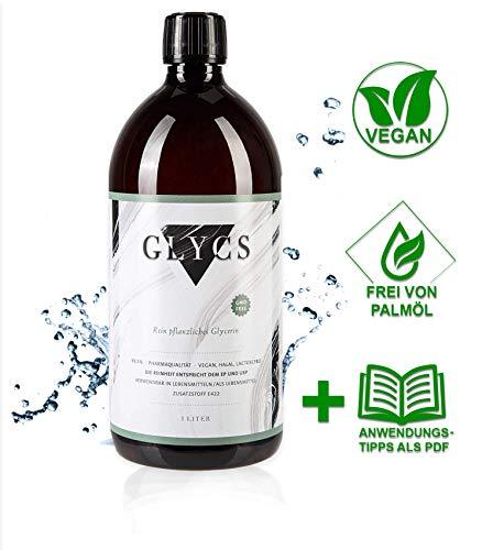 GLYCS Pflanzliches Glycerin flüssig in Pharmaqualität - Liquid Base - Pflanzlich, Vegan & Natürlich für Kosmetik & Hautpflege - 1 Liter VG Base (1000ml) + Gratis E-Book -