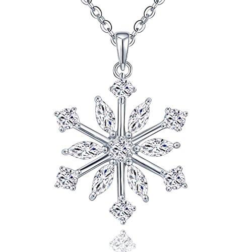 JO WISDOM halskette schneeflocken silber 925 damen zirconia swarovski Kristall anhänger kette (weiße Schneeflocke) - Kristall-schneeflocke