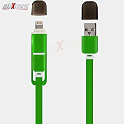 AllExtreme Lightning to USB and Micro USB Dual Charging Cable, 3.3ft 2 in 1 Dual Connector Sync & Fast Charging Cable Cord for iPhone 7/7 Plus/6/6 Plus/5S, Samsung Galaxy S7/S6/S4, Motorola, HTC, Microsoft, Android and Apple Devices - Green