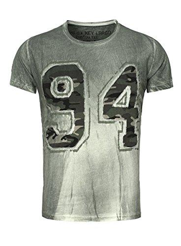 Key Largo Herren T-Shirt NINETY FOUR mit Camouflage Muster im Vintage Look 94 Verwaschen Grün