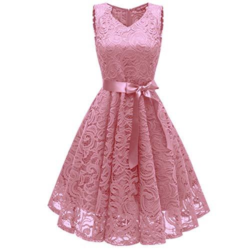ZLDDE Damen V-Ausschnitt Kurz Brautjungfer Kleid Cocktail Party Floral Kleid Rosa