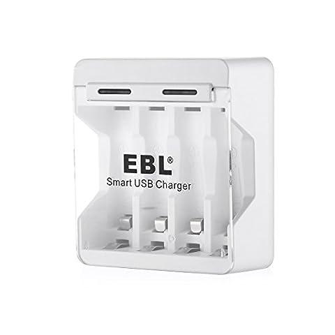 EBL 4 prise chargeur de pile rechargeable AA/AAA Ni-MH Ni-CD chargé par le Port USB Livré avec Un Câble USB
