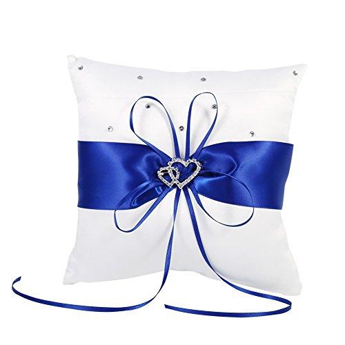 20cm × 20cm Nuptiale Bague de poche de mariage coussin Coussin porte-charge avec double coeurs Décoration, ivoire blanc / rouge / bleu / violet ( Couleur : Blue )
