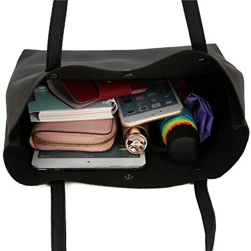 Composite Bag Women Handbags Woman PU Leather Large Capacity Female Shoulder Bags Solid Color,Dark Grey