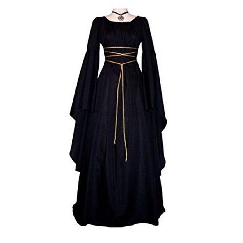 Maxikleid Retro Boho Kleid Halloween Weihnachten Kostüm Langarm Kleid (Halloween Kostüme)