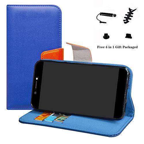 LFDZ Archos Core 50 Hülle, [Standfunktion] [Kartenfächern] PU-Leder Schutzhülle Brieftasche Handyhülle für Archos Core 50 Smartphone (mit 4in1 Geschenk Verpackt),Deep Blue