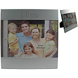 Marco de foto de aluminio con nombre grabado: Nico (nombre de pila/apellido/apodo)