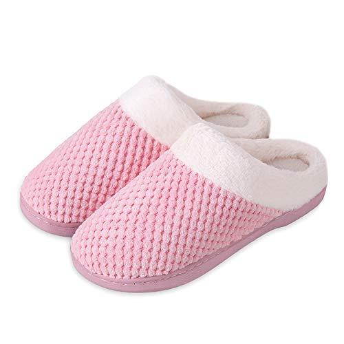 Mabove Hausschuhe Damen Winter Wärme Bequem Plüsch Pantoffeln Indoor Home rutschfeste Kuschelig Weite Leicht Slippers (Pink.xmt,40/41 EU)