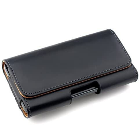 kwmobile Housse pour ceinture pour Smartphones avec clip ceinture - Étui pour ceinture en cuir synthétique avec passant de ceinture en noir Dimensions intérieures: env. 13,5 x 7 x 1,5