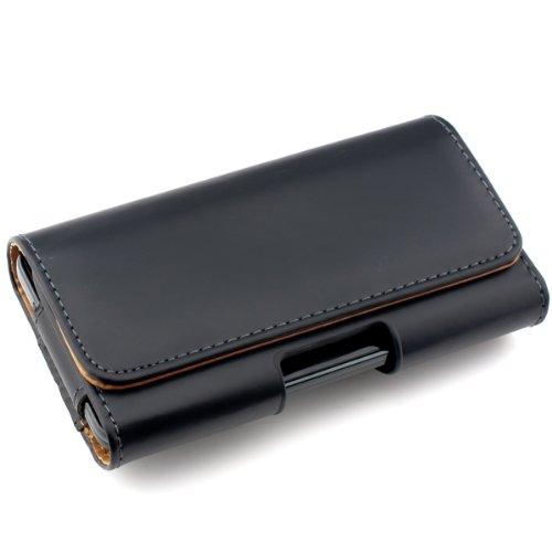 kwmobile Étui de Ceinture 14,0 x 7 x 1,5 cm pour Téléphone Portable - Étui Ceinture Universel Simili Cuir - Sacoche Smartphone avec Crochet - Noir