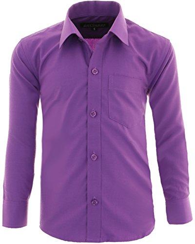 A1 Kinder Party Hemd freizeit Hemd bügelleicht Lange Arm mit 9 Farben Gr.86-170 (140/146, Lila)