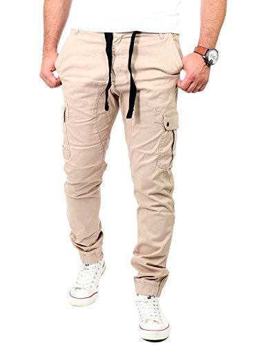 Reslad Chinohose Herren Jogg-Jeans Chino Freizeithose Cargo-Hose Jogginghose RS-2084 Beige W36