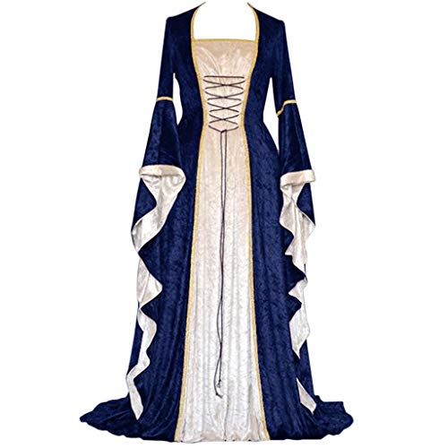 DRESS_start Damen Langarm Renaissance Mittelalter Kleid Viktorianischen Königin Kostüm Maxikleid (Mädchen Renaissance Königin Kostüm)