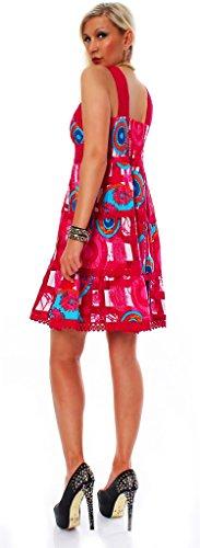 Fashion4Young 10517 très mignonne arrivant aux genoux avec col en v pour femme robe d'été robe en dentelle taille 36/38 Rose - Rose bonbon