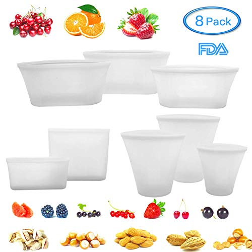 8 Pack Reusable Silicone Food Bag Zip Lock Top Leakproof Containers Stand Up Stay Open Zip Shut Storage Bag Snack Fruit Bag Cup Pattern (White) Silicon Top