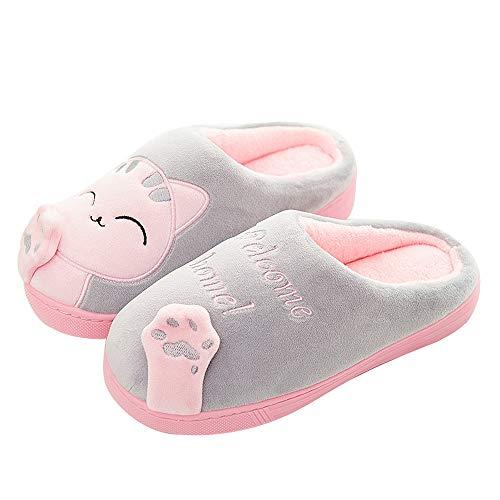 Antideslizantes para Hogar Lindo Gato Zapatos Zapatillas de Estar por casa para niño y niña 26/27...