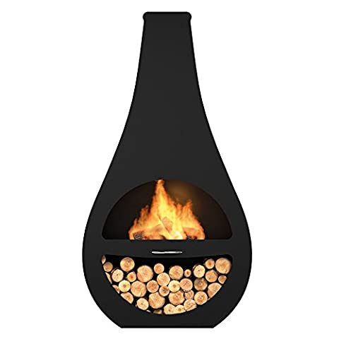 Premier Decorations High Quality Steel, Innovative, Hard Wearing and Durable Design Patio TULIP CHIMINEA with Anthracite Paint Coating which Provides High Resistance to Heat, Rust and Colour