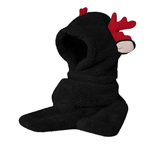 Mymyguoe Lange Ohrenwärme verdickend Bequeme Hutschalhandschuhe Damen Kunstpelz Winter warme Flauschige Kapuze Schal Hut Snood Tasche Hüte Handschuhe Elch Süß