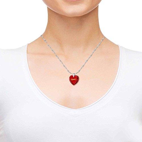 Pendentif Coeur - Bijoux Romantique en Argent 925 avec I Love You Inscrit dans le symbole de l'infini à l'Or 24ct sur un Zircon Cubique en Forme de Coeur, 45cm - Bijoux Nano Rouge