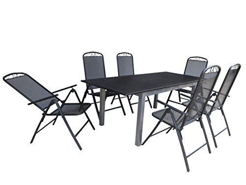 7-teilige Luxus Aluminium Streckmetall Gartenmöbelgruppe 'Doppler RRR' , Klappsessel und Ausziehtisch Detroit 150/210x90 silber, P6