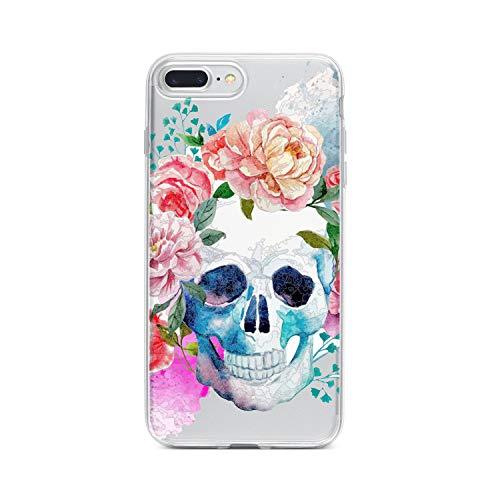 licaso iPhone 7 Plus IP7+ Handyhülle TPU mit Skull & Roses Tattoo Print Motiv - Transparent Cover Schutz Hülle Aufdruck Lustig Funny Druck (Happy Halloween Transparentes Logo)
