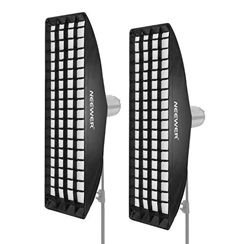 Neewer 2 Packs 22 x 90 Zentimeter Honeycomb Gitter Softbox mit Bowens Montage Speedring für Speedlite Studio Blitz Monolight, Portrait und Produktfotografie -