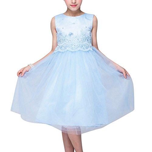 Principessa da sposa vestito bambina floreale pizzo abiti da cerimonia azzurro chiaro 150cm