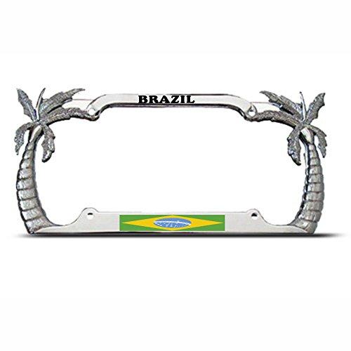 Metallpalme Brasilianische Flagge Chrom Kennzeichenrahmen Rahmen Brasilien Tag Bordüre Perfekt für Männer Frauen Auto Garadge Dekor