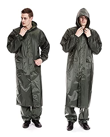 Mens Waterproof Hooded Lightweight Long Outdoor Rain Coat (Large, Olive)