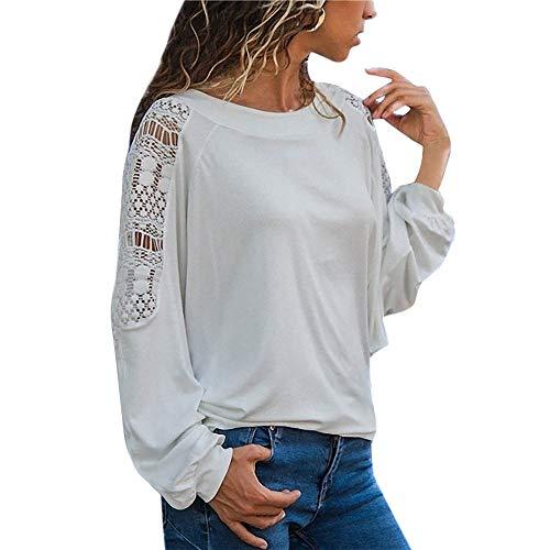 Kobay t-shirt a maniche lunghe in pizzo a maniche lunghe con scollo a v scollatura ampia(bianco,x-large)