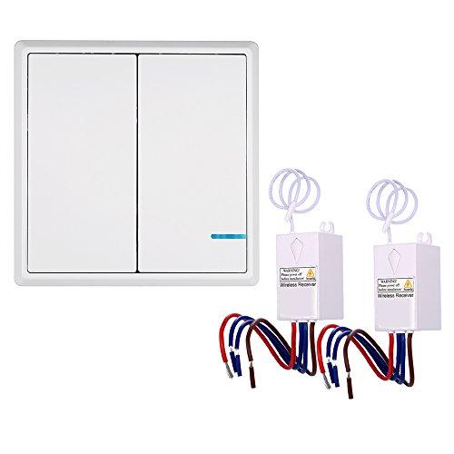KKmoon, 2 trasmettitori senza fili, AC 180 ~ 275 V, per interruttore ricevitore controller, non cablati, telecomandati, impermeabili, per illuminazione domestica e dispositivi
