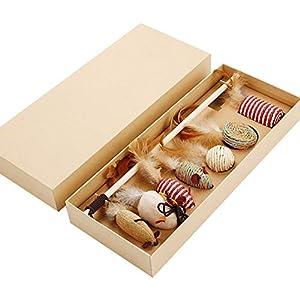 8Pcs Teaser Chat Baguette Souris Chaton Set d'entraînement interactif Toy Toy Kitty Plume Catcher Cat Teaser bâton