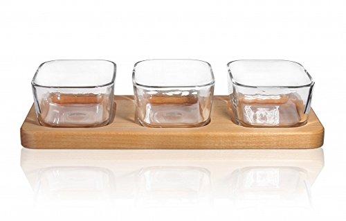 3er Snackschalen aus Glas Buchenholz 34cm lang Knabberschale Servierteller Tapas