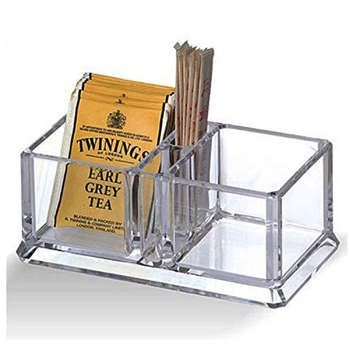 Acryl klar Tee Box 2 Fächer Container Tasche Caddy Brust für Tee und Kaffeebeutel