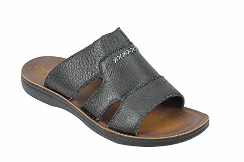 45f4a75ffa4 Mens Black Real Leather Big Size Sandals Beach Walking Flip Flop Open.