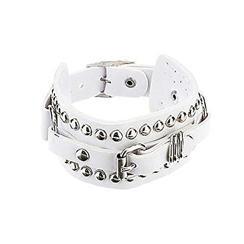 HFJ&YIE&H L'afflux de personnes en Europe et en Amérique Rivet cuir Punk Bracelet cadeaux , white