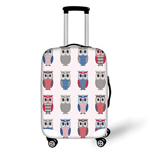 Travel Luggage Cover Suitcase Protector,Boys Girls Room,Pattern of Owls with Zigzag Polkadots and Chevron Print Modern,White Grey Blue Red,for Travel Tiger Chevron Print