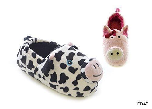 Mädchen / Kinder / Kinder Plush 3D Animal Schwein / Kuh Pantoffeln - Kuh, UK 13/1 (Euro 32/33) Kuh