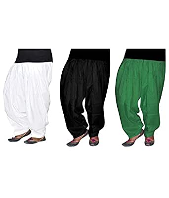 Shiva Collections black green and white cotton patiala salwar